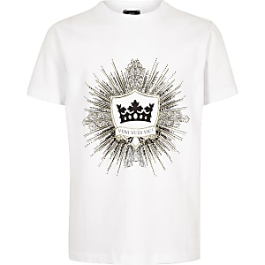 Wit T-shirt met logo en versiering voor jongens