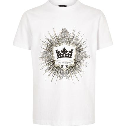 Boys white logo embellished T-shirt