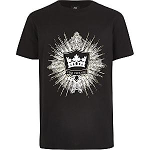 Zwart verfraaid T-shirt met logo voor jongens