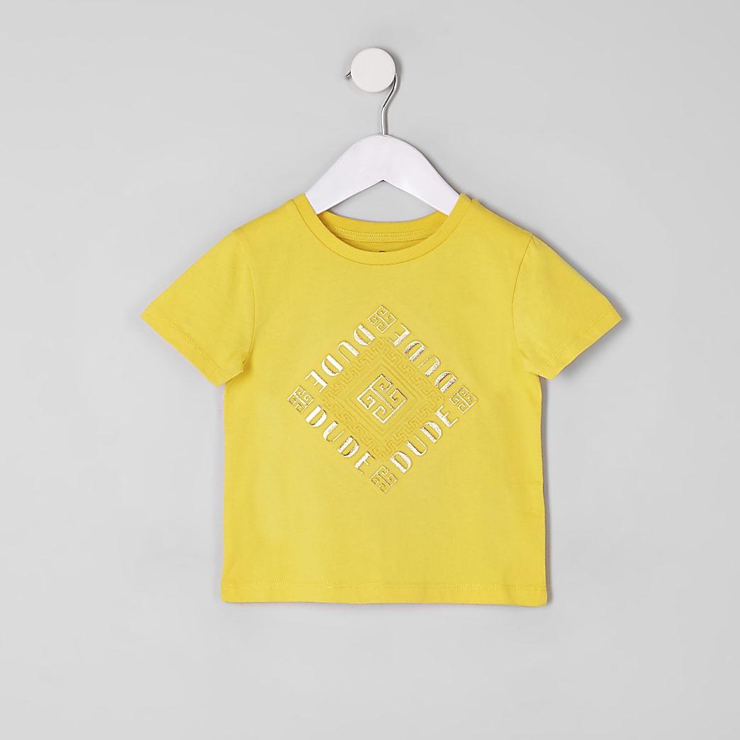 Mini boys yellow 'Dude' embossed T-shirt