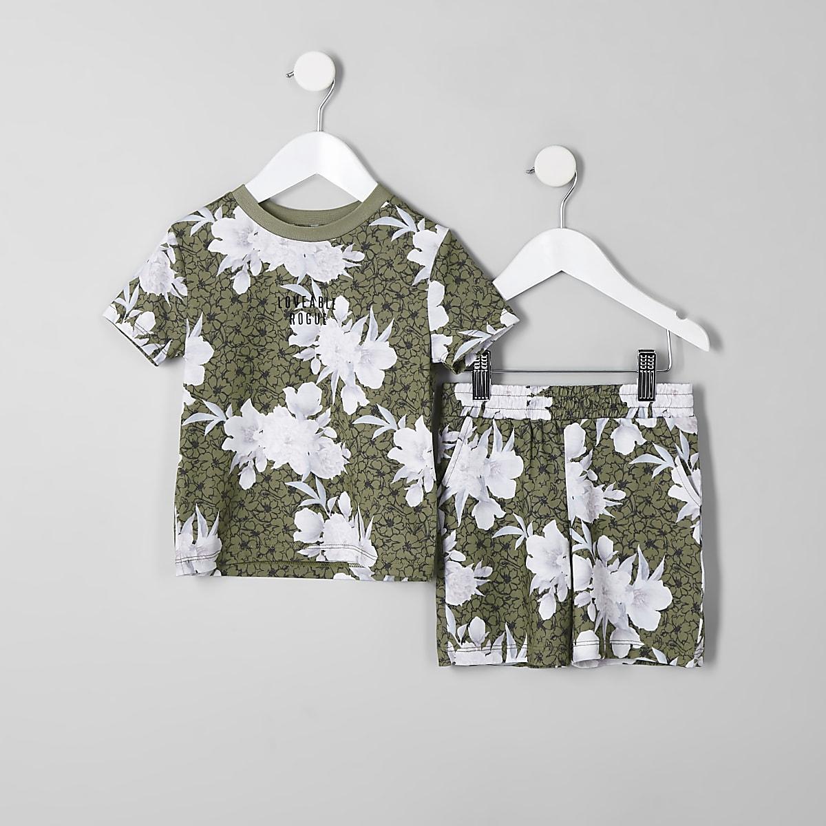 Mini boys khaki floral short outfit