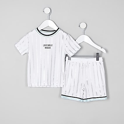 Mini boys white stripe mesh short outfit
