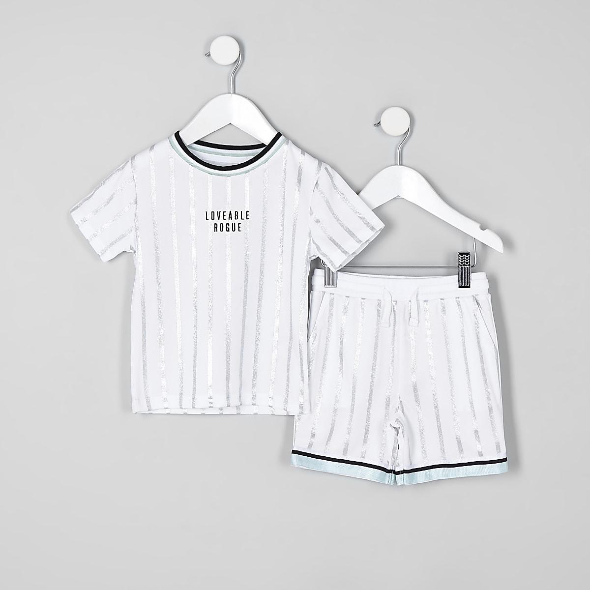 Mini - Outfit met witte gestreepte short van mesh voor jongens