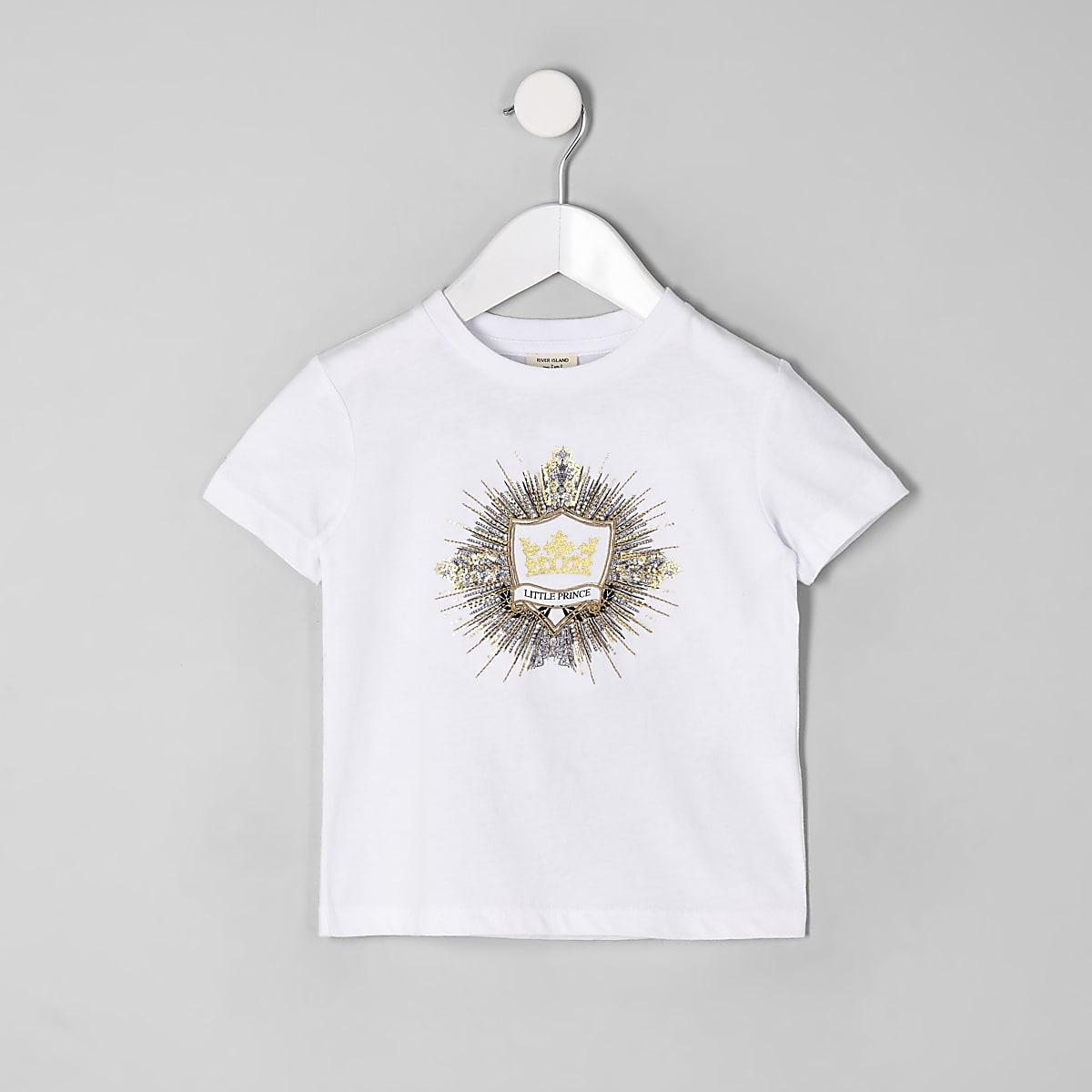 Mini boys white logo embellished T-shirt