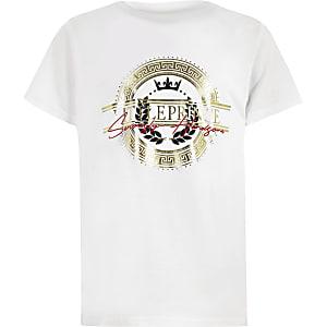 Boys white 'little prince' gold foil T-shirt