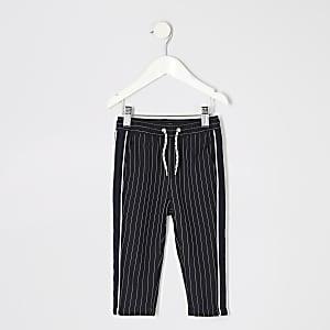 Pantalon à fines rayures bleu marine mini garçon