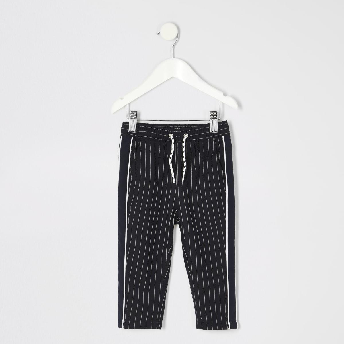 Mini - Marineblauwe broek met krijtstreep voor jongens