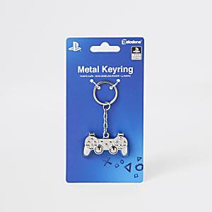 Porte-clés manette de PlayStation argenté pour garçon