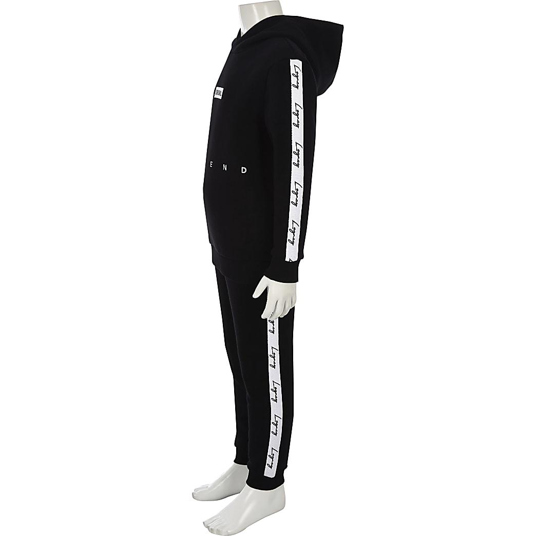 Boys black 'Legacy' tape hoodie outfit
