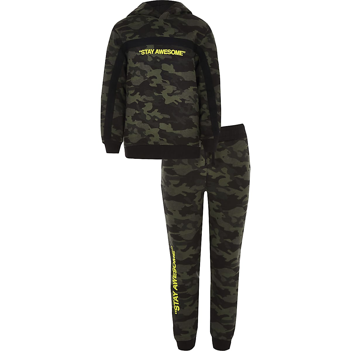 Boys khaki camo 'Stay awesome' hoodie outfit