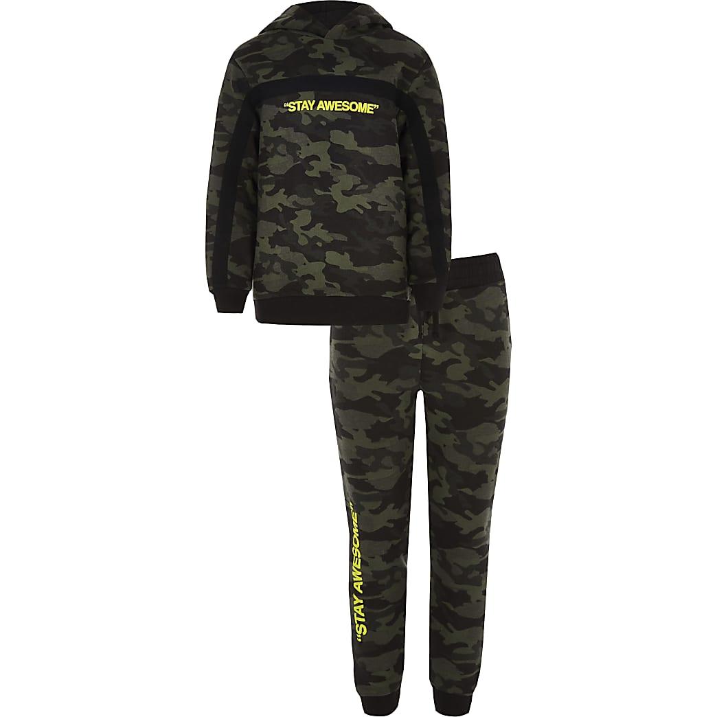 Ensemble avec sweat à capuche «Stay awesome» camouflage kaki pour garçon