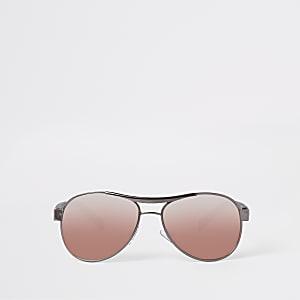 Zwarte pilotenzonnebril met roze glazen voor jongens