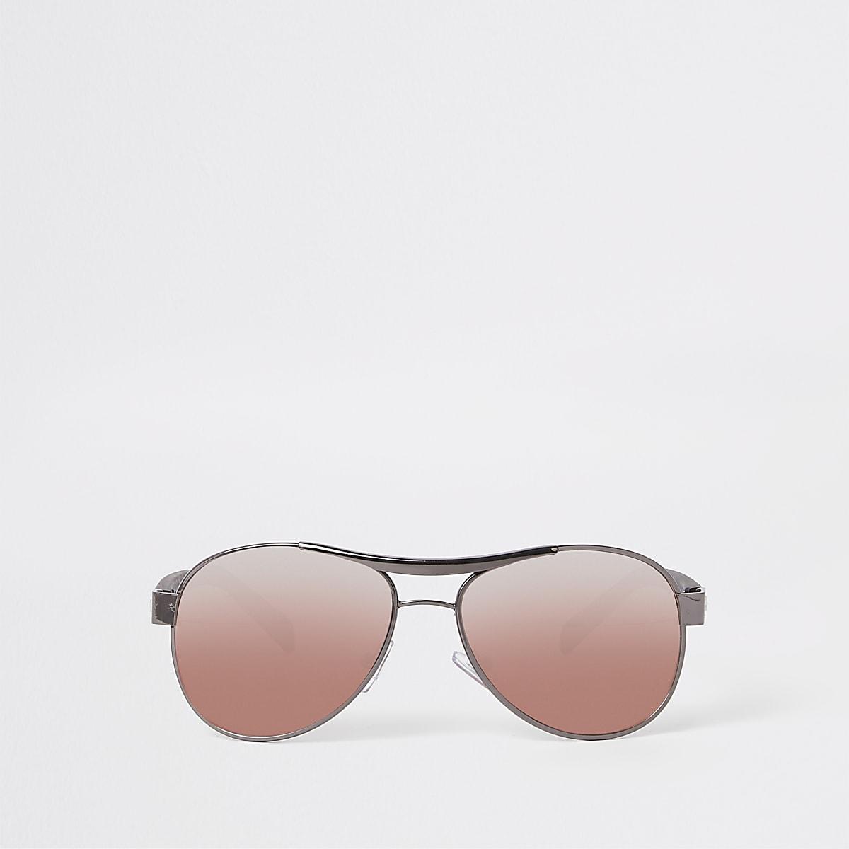 Boys black aviator pink lens sunglasses