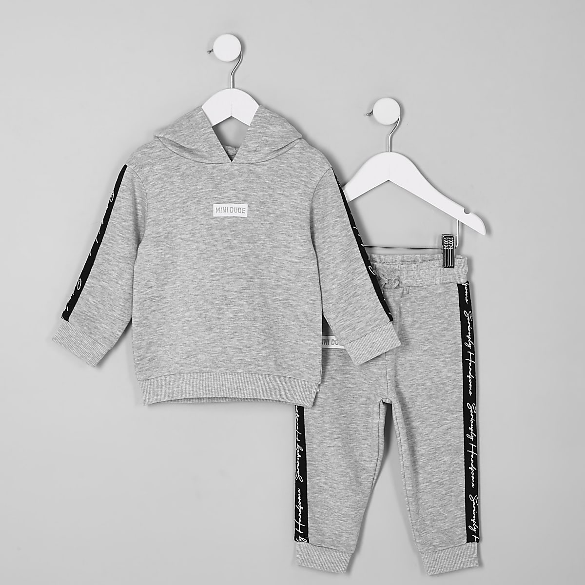 Mini boys grey 'Mini dude' hoodie outfit