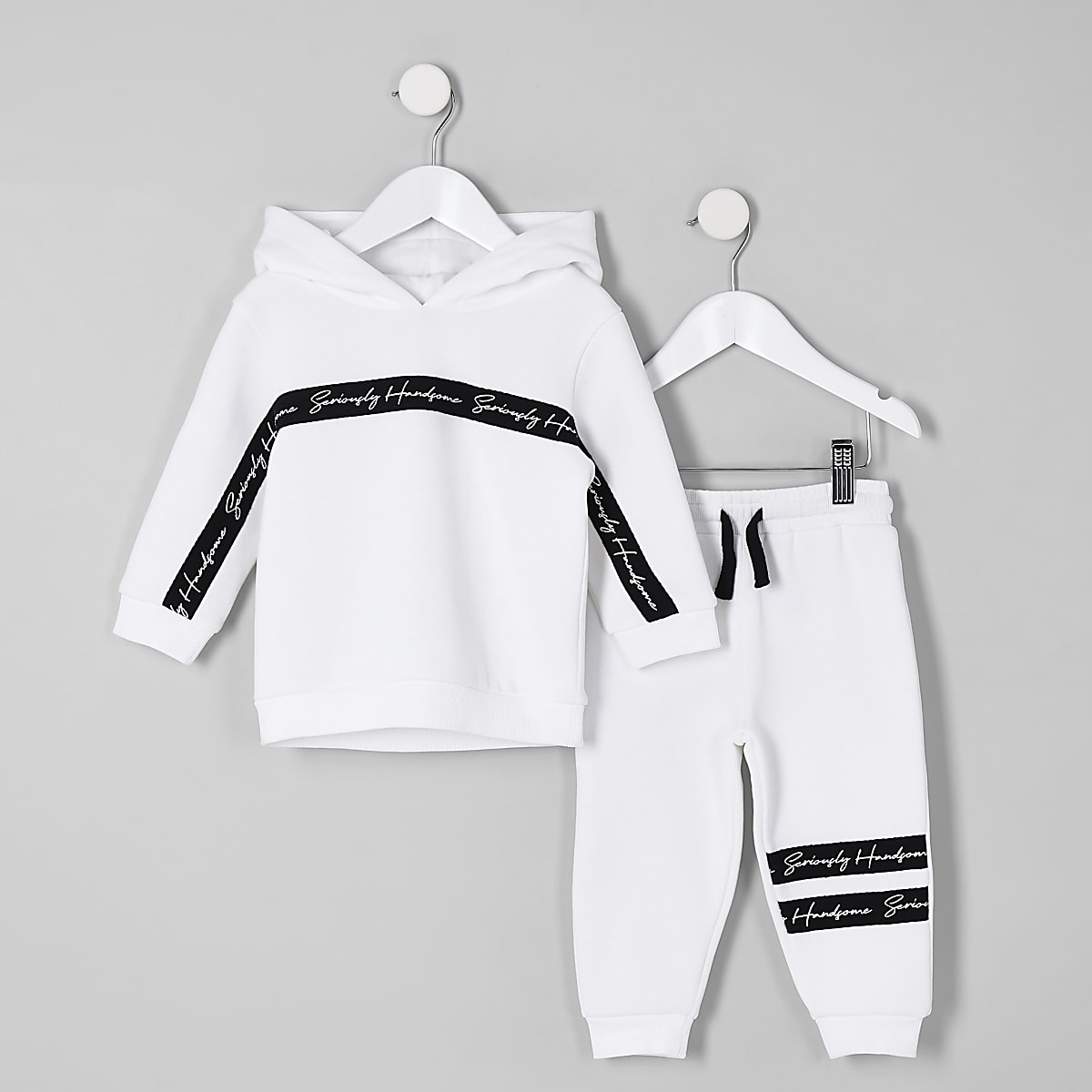 Mini boys white 'handsome' hoodie outfit