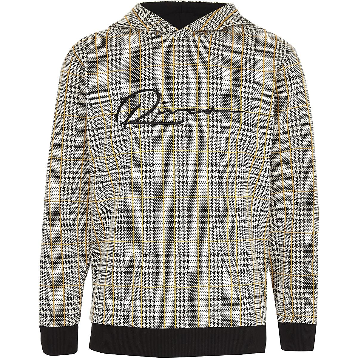 Boys brown check 'River' hoodie