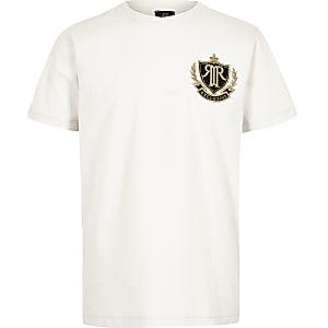 Kiezelkleurig T-shirt met RI-badge