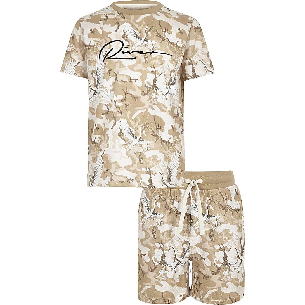 Boys stone camo 'River' T-shirt outfit