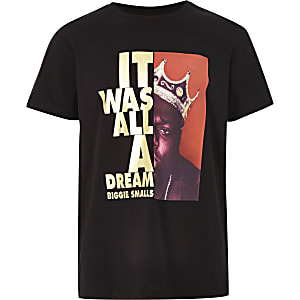 Zwart T-shirt met 'it was all dream'-print voor jongens