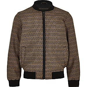 Boys brown RI bomber jacket