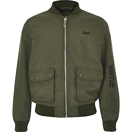 Boys khaki RI utility bomber jacket