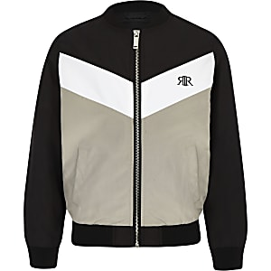 Boys black RI chevron bomber jacket