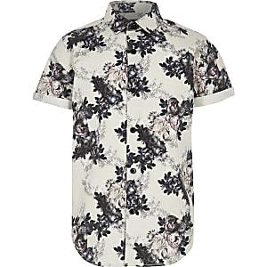 Wit poplin overhemd met bloemen voor jongens