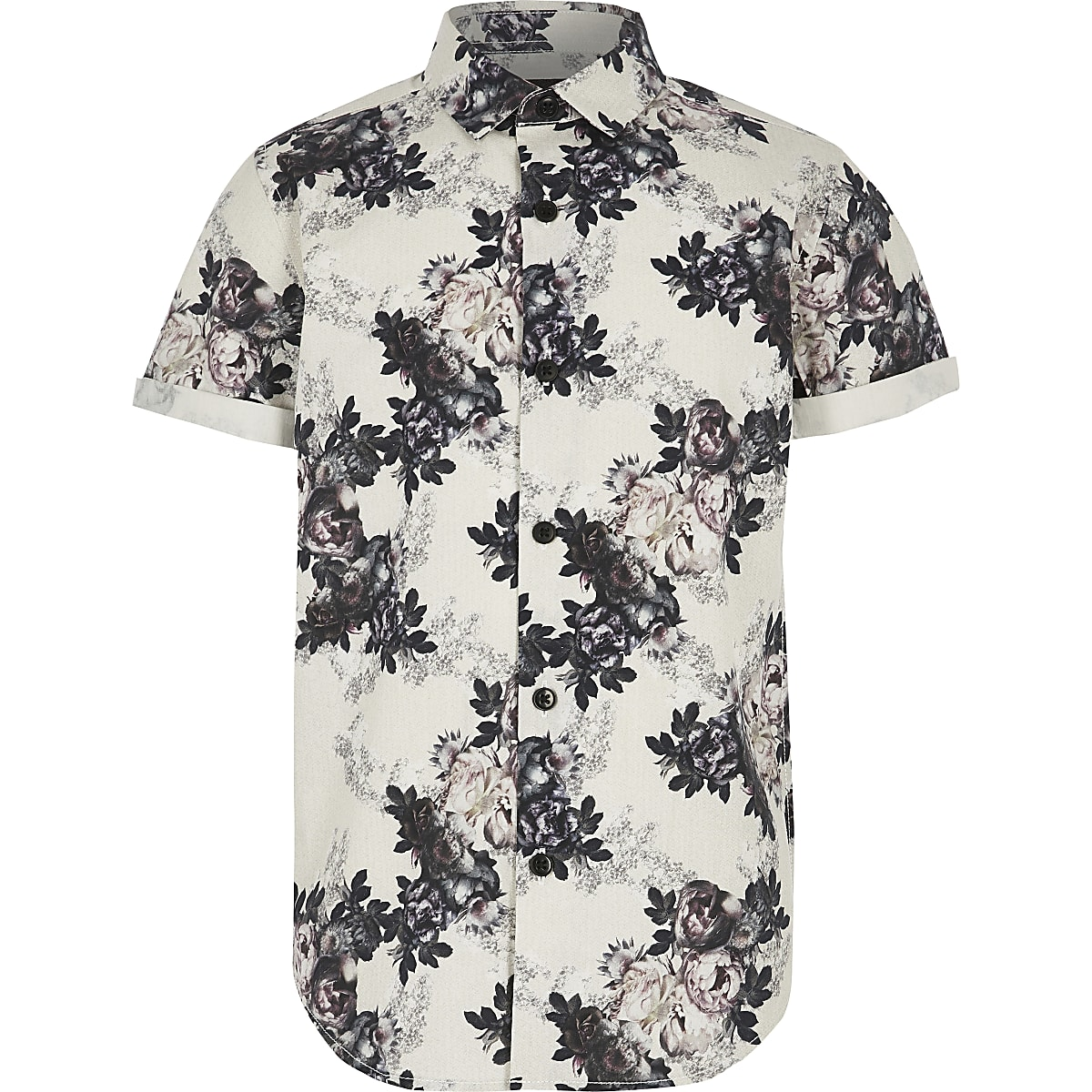 Boys white floral poplin shirt