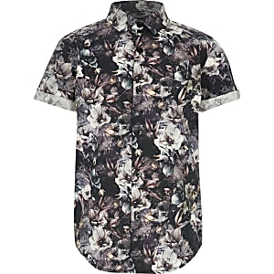 Boys black floral poplin shirt