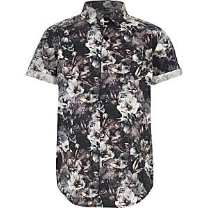 Zwart poplin overhemd met bloemen voor jongens