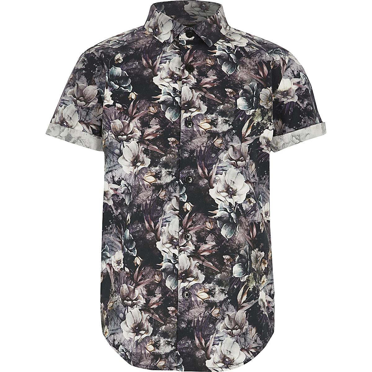 Schwarzes, geblümtes Popeline-Hemd