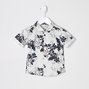 Mini - Wit poplin overhemd met bloemen voor jongens
