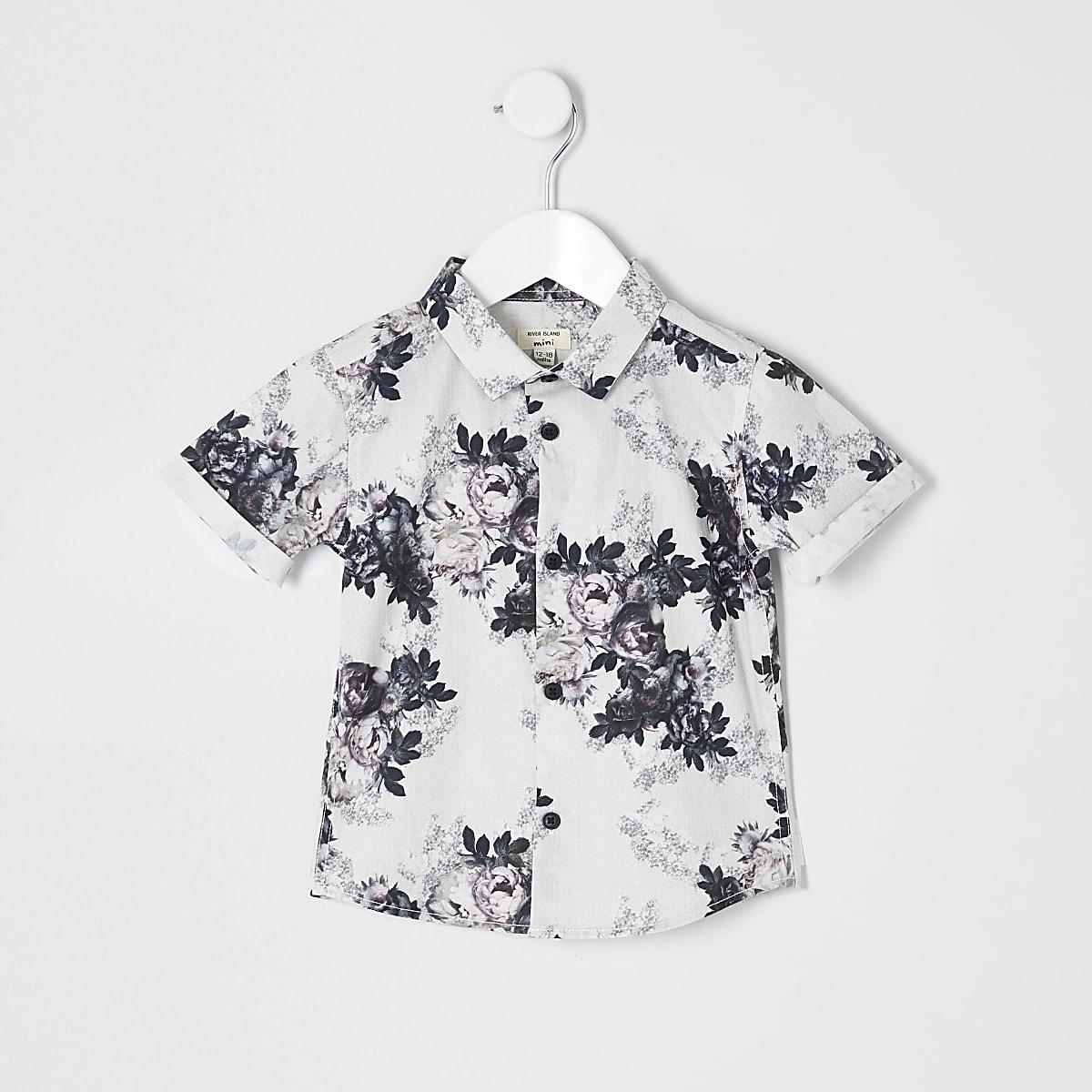 Mini boys white floral poplin shirt