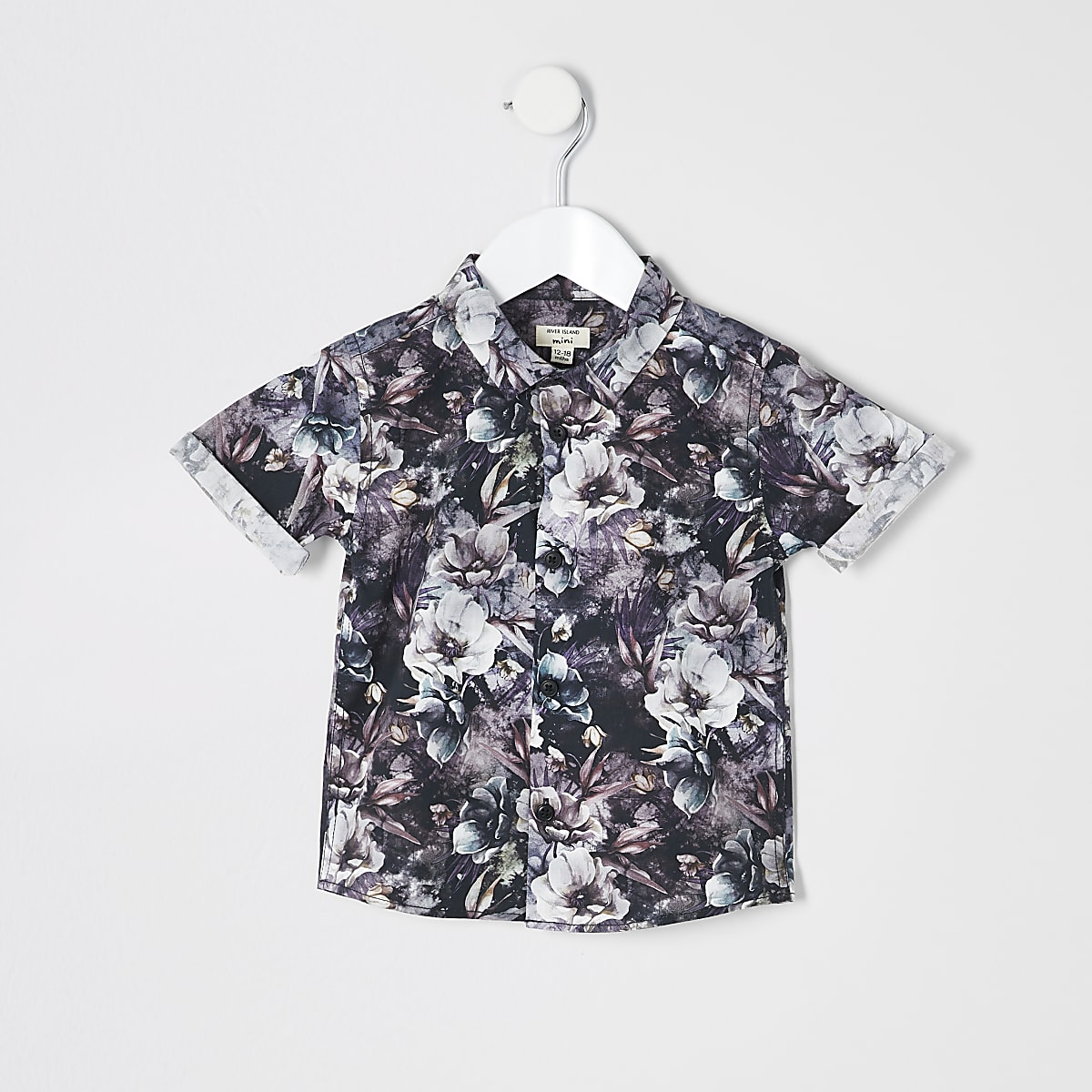 Mini boys black floral shirt