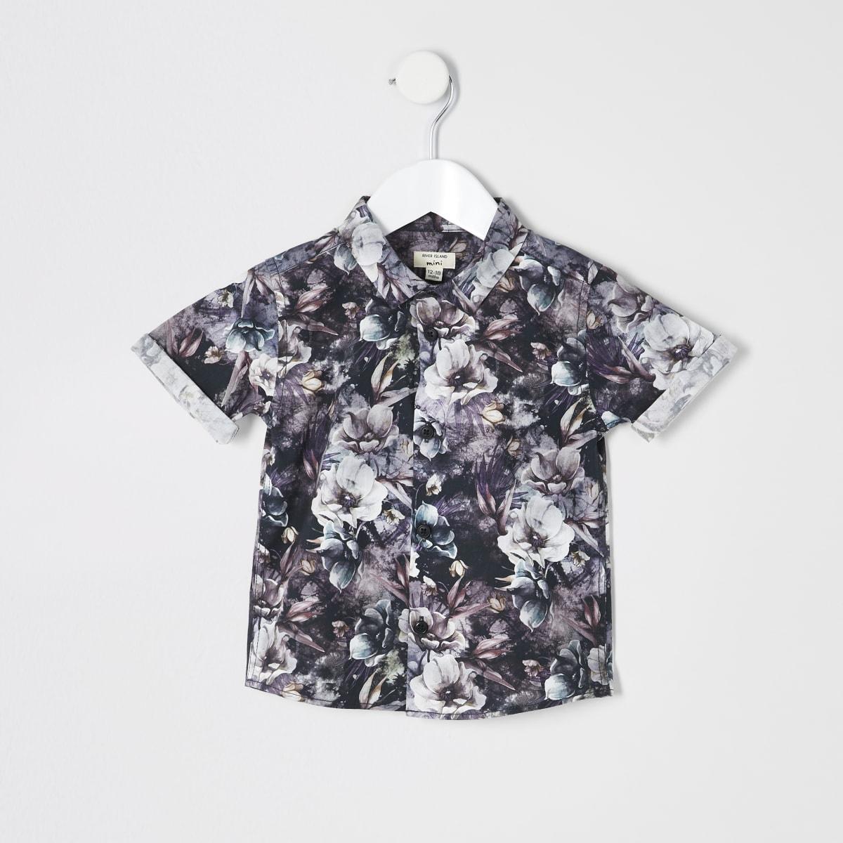Mini boys black floral shirt
