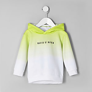 Boys lime green 'master of mayhem' hoodie