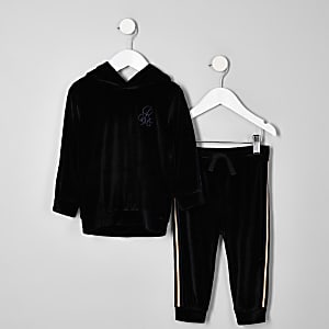 Mini boys black velour R96 hoodie outfit