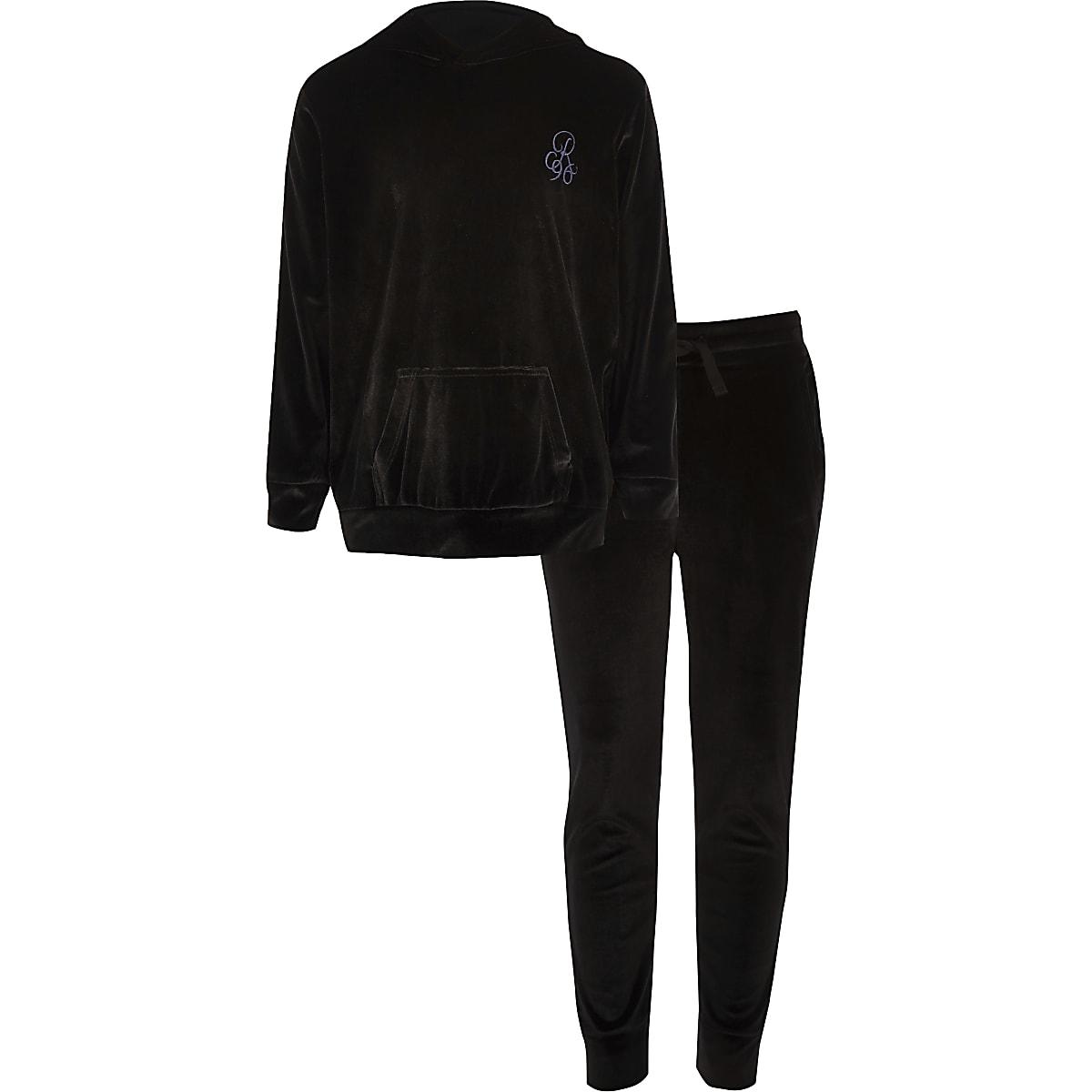 Boys black velour R96 hoodie outfit