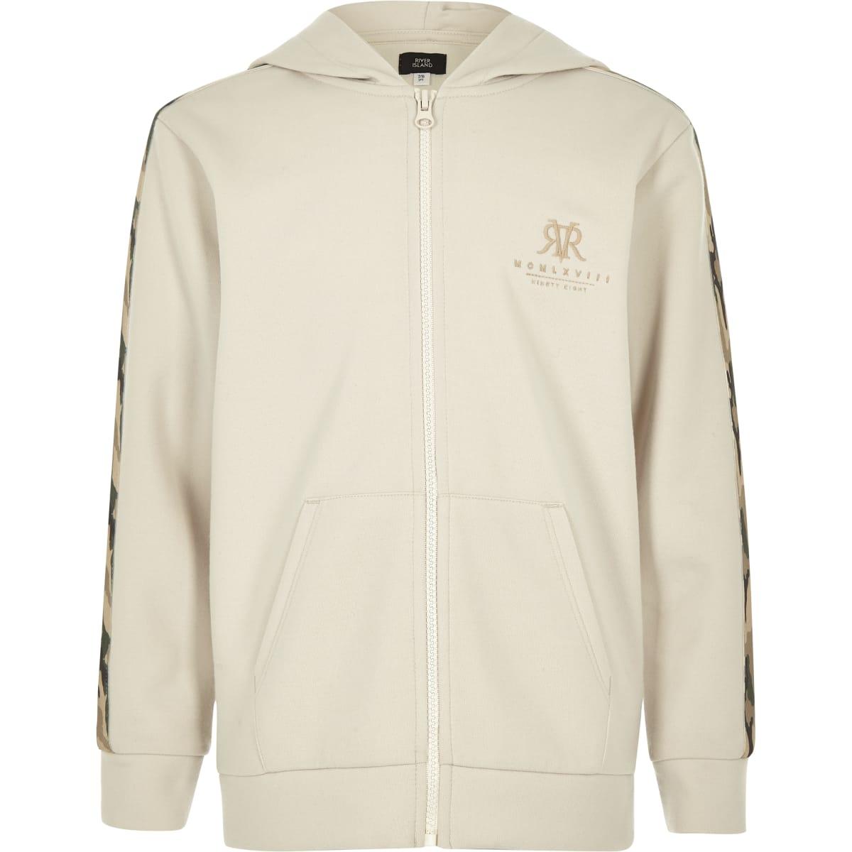 Boys stone camo tape zip hoodie