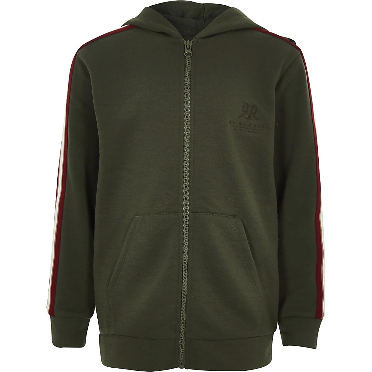 Kaki hoodie met RI-logo en rits voor jongens