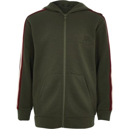 Boys khaki RI zip hoodie