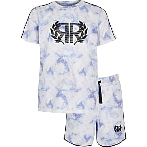 Boys blue mesh T-shirt outfit