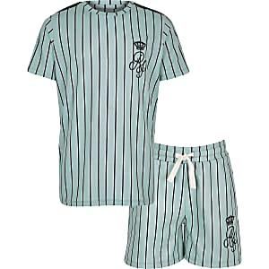 Groene gestreepte shortoutfit met RI-logo voor jongens