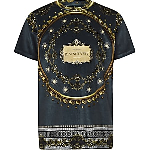 Boys navy baroque velour T-shirt