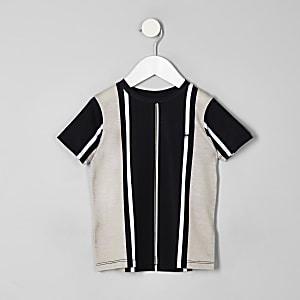 Mini boys black vertical stripe T-shirt