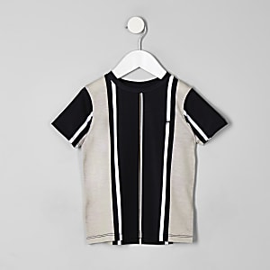 Mini boys black vertical stripe T-shirt