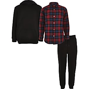 Boys red check hoodie outfit