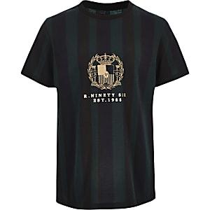 Groen gestreept T-shirt met R96-print voor jongens