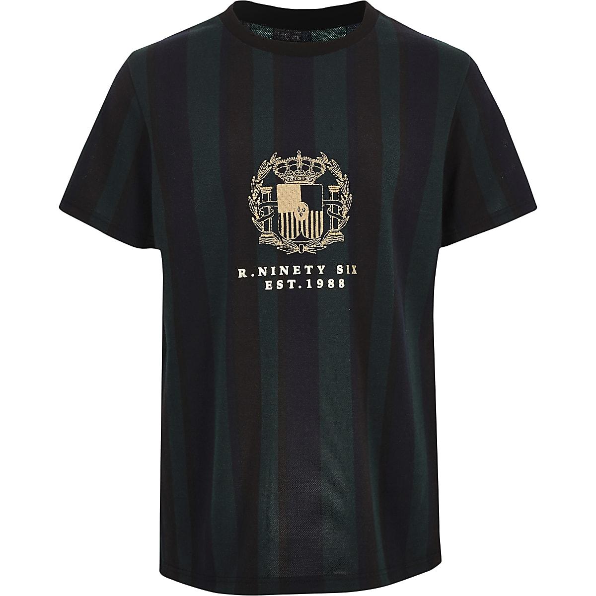 Boys green R96 stripe T-shirt