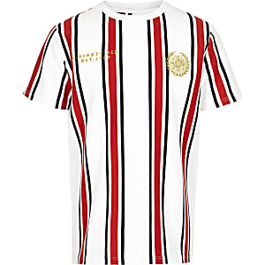 Boys red stripe embroidered T-shirt